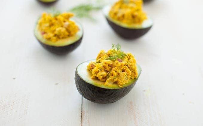 Turmeric Chickpea Salad Avocado Boats