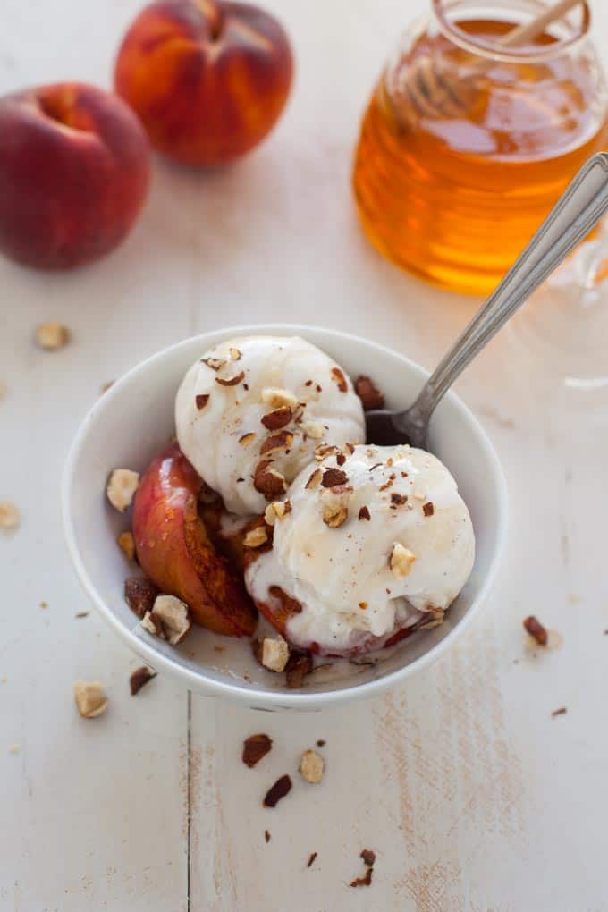 Vegan Roasted Peach Ice Cream Sundae