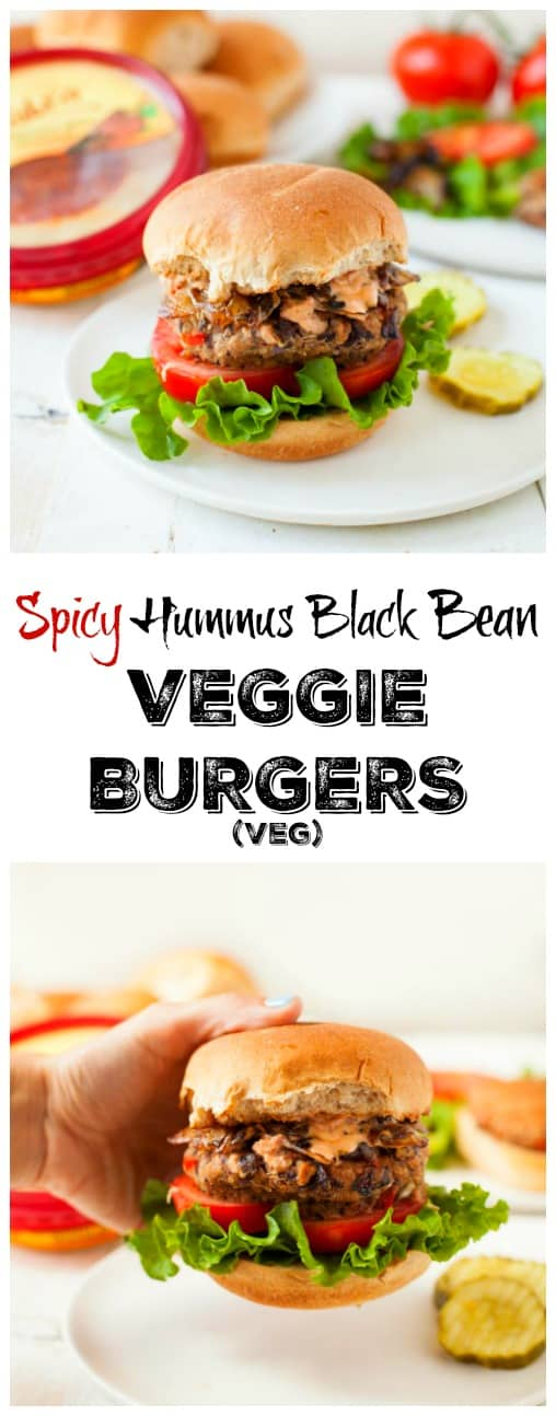 A veggie burger that packs in a lot of flavor and nutrition, this spicy hummus black bean veggie burger is perfect for summertime grilling.