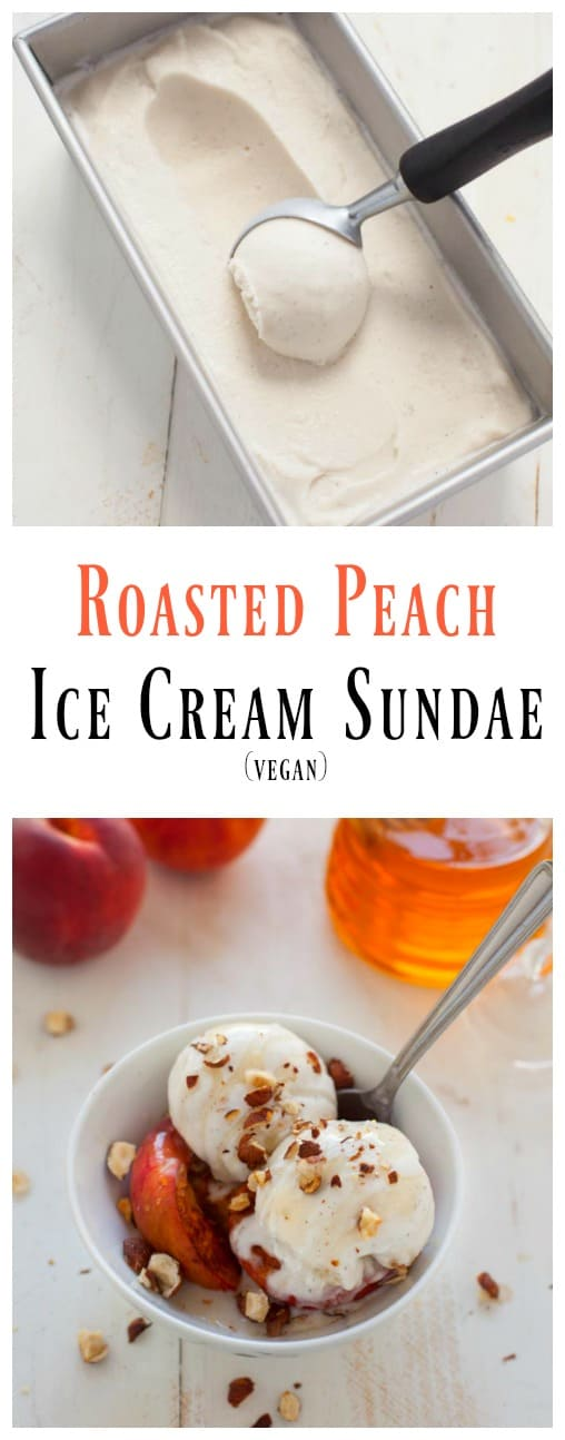 Rich, creamy, sweet and dairy-free! This vegan roasted peach ice cream ...