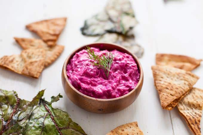 Beet Tzatziki with Beet Green Chips