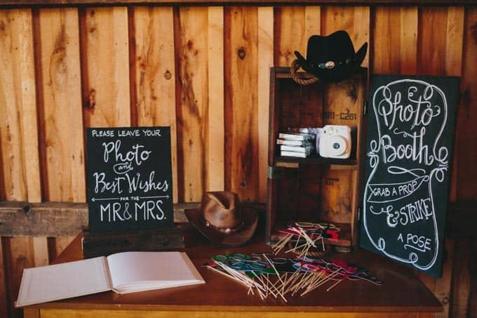 DIY photo booth rustic barn wedding