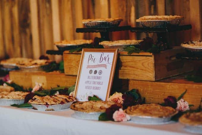 pie display rustic barn wedding