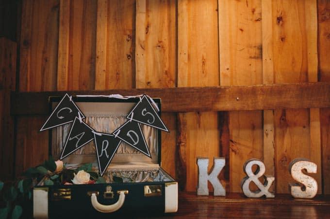 card box rustic barn wedding