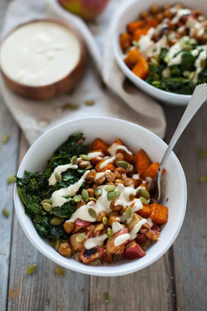 A seriously satisfying plant-based bowl, this fall harvest buddha bowl with creamy cashew apple cider dressing is the perfect grounding dinner to comfort you on a chilly fall night.