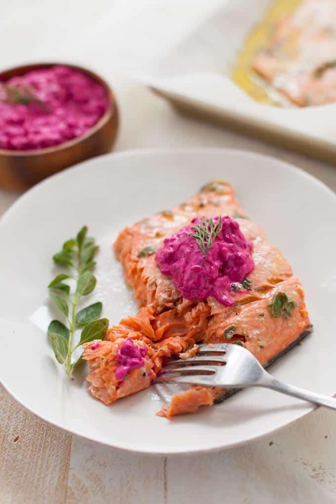 Greek Marinated Salmon with Beet Tzatziki