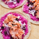 Greek Salmon Gyros with Beet Tzatziki