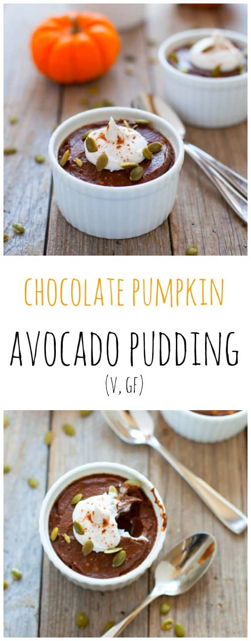 Rich, chocolatey, velvety goodness that's packed with nutrition. This chocolate pumpkin avocado pudding is the perfect dessert to make Halloween weekend!