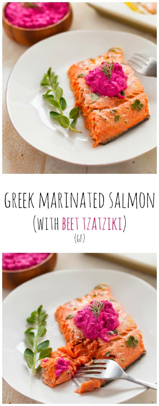 October is National Seafood Month! Celebrate the delicious and nutritious benefits of eating seafood, starting with my Greek marinated salmon topped with beet tzatziki.