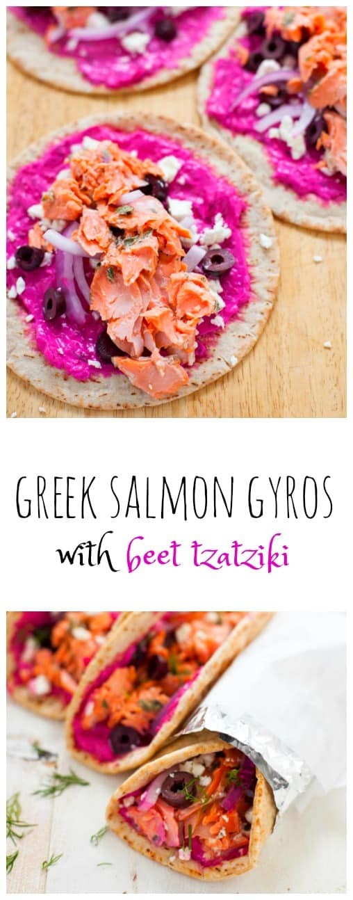 Greek Salmon Gyros with Beet Tzatziki are a delicious, colorful, quick and easy weeknight meal that will leave you begging for leftovers.