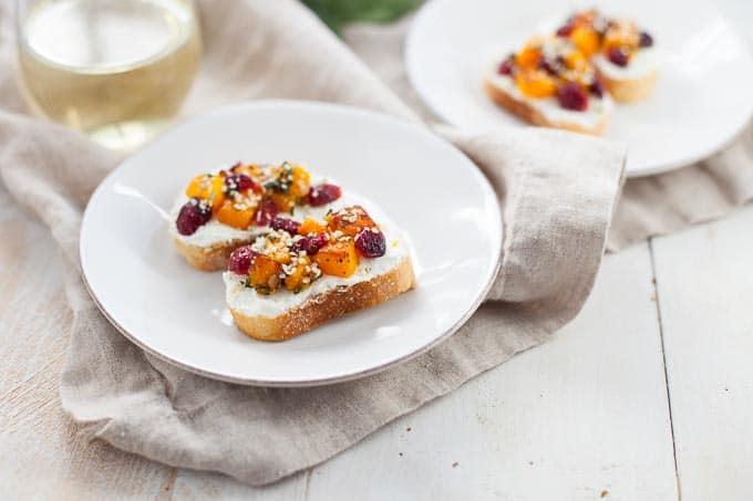 Butternut Squash and Cranberry Crostini