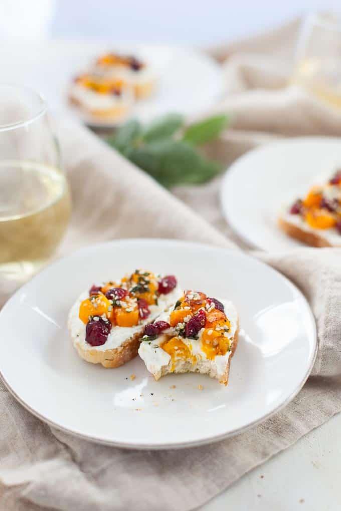 Butternut Squash and Cranberry Hemp Crostini