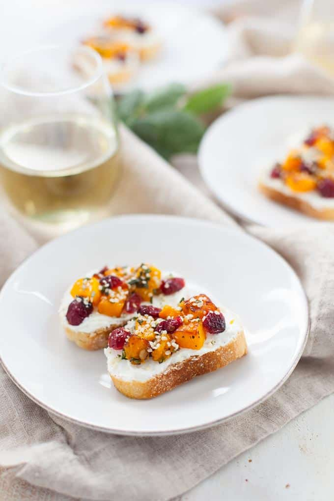 A delicious appetizer for the upcoming holidays, these butternut squash and cranberry hemp crostini are sure to wow your guests.