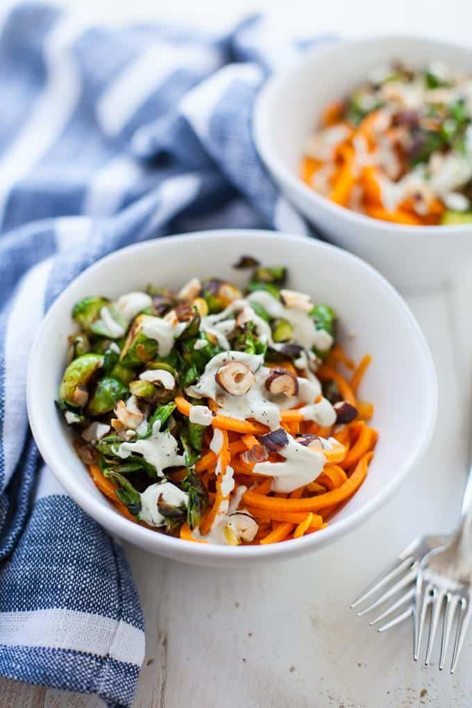 A comforting, creamy and hearty plant-based meal, these sweet potato noodles with sage cashew cream sauce taste too good to be good for you (but they're great for you!)