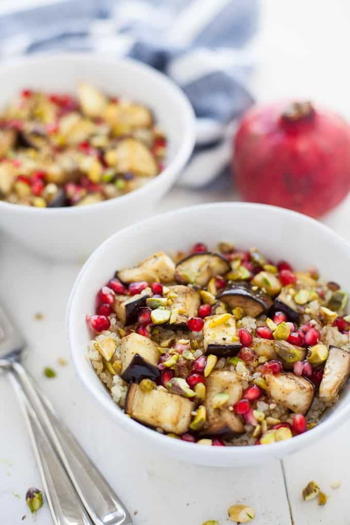 middle eastern spiced quinoa salad with eggplant and pomegranate