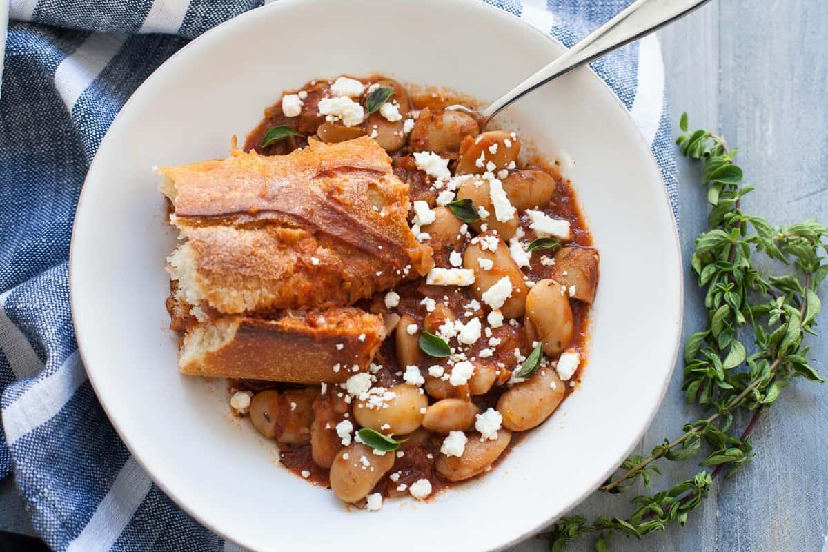 Slow Cooker Greek Baked Beans The Foodie Dietitian Kara Lydon