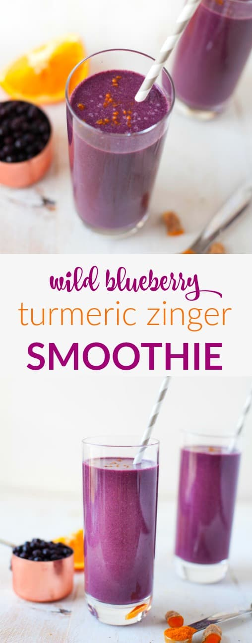 Sweet and spice and everything nice. This Wild Blueberry Turmeric Zinger Smoothie is packed with immune-boosting ingredients to keep you rockin and rollin all winter long.