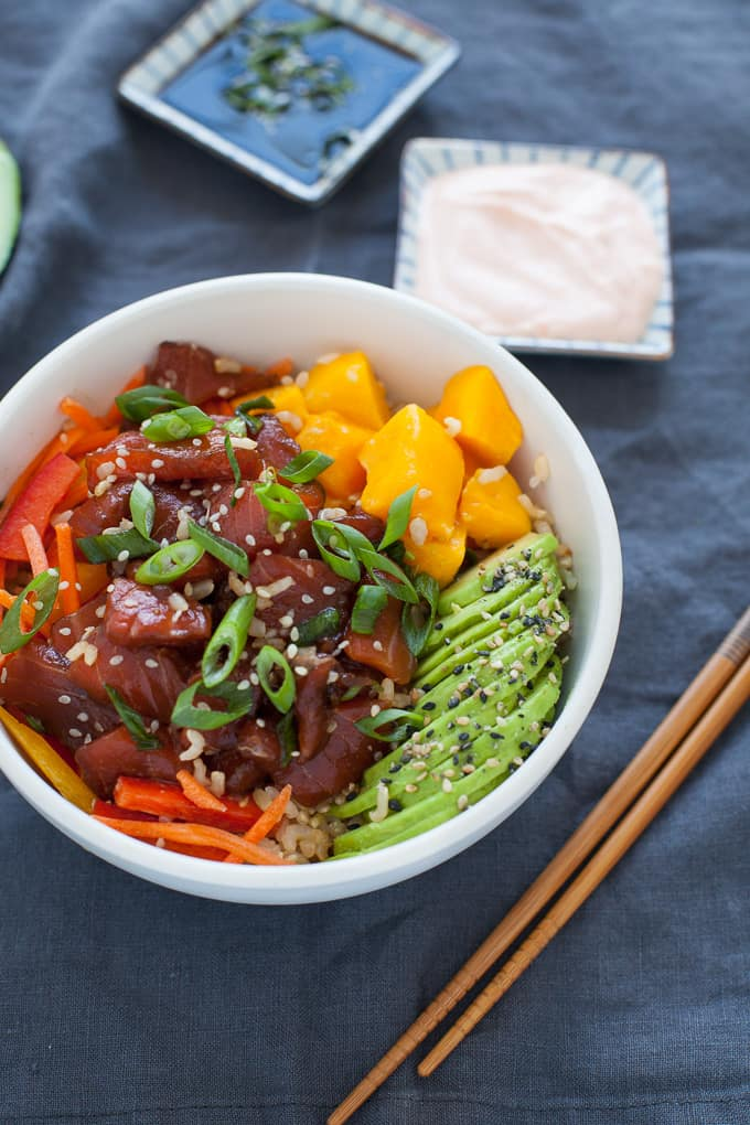A bowl packed with nutrition and bursting with flavor, this spicy salmon and avocado poke bowl makes for a quick, healthy and satisfying weeknight meal.