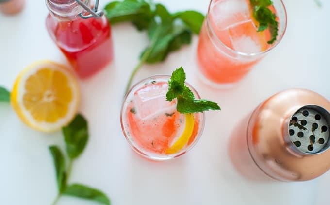 Strawberry Rhubarb Gin Fizz