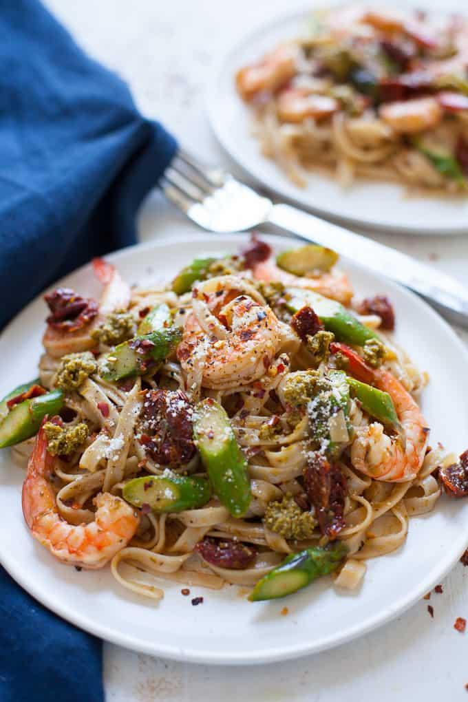 Shrimp Pesto Pasta with Asparagus