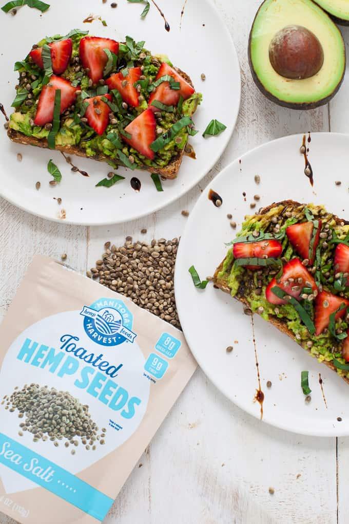 Strawberry Basil Avocado Toast with Toasted Hemp Seeds