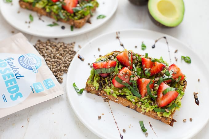 Strawberry Basil Hemp Avocado Toast