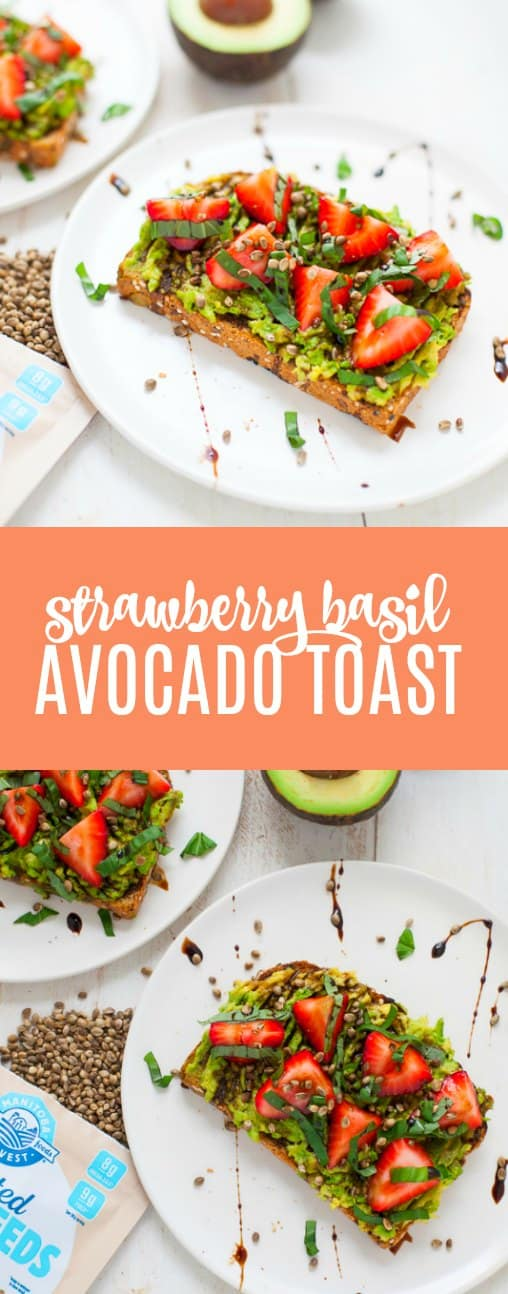 With its sweet and savory components, this strawberry basil avocado toast made with Toasted Hemp Seeds is perfect for breakfast, lunch or a snack!