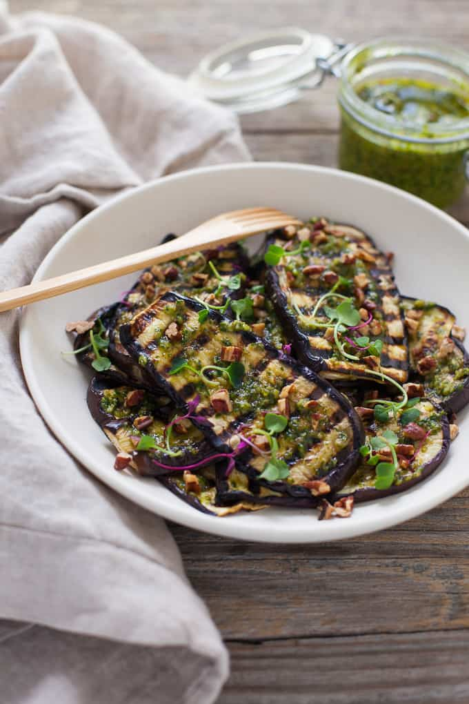 Grilled Eggplant with Pecan Pesto