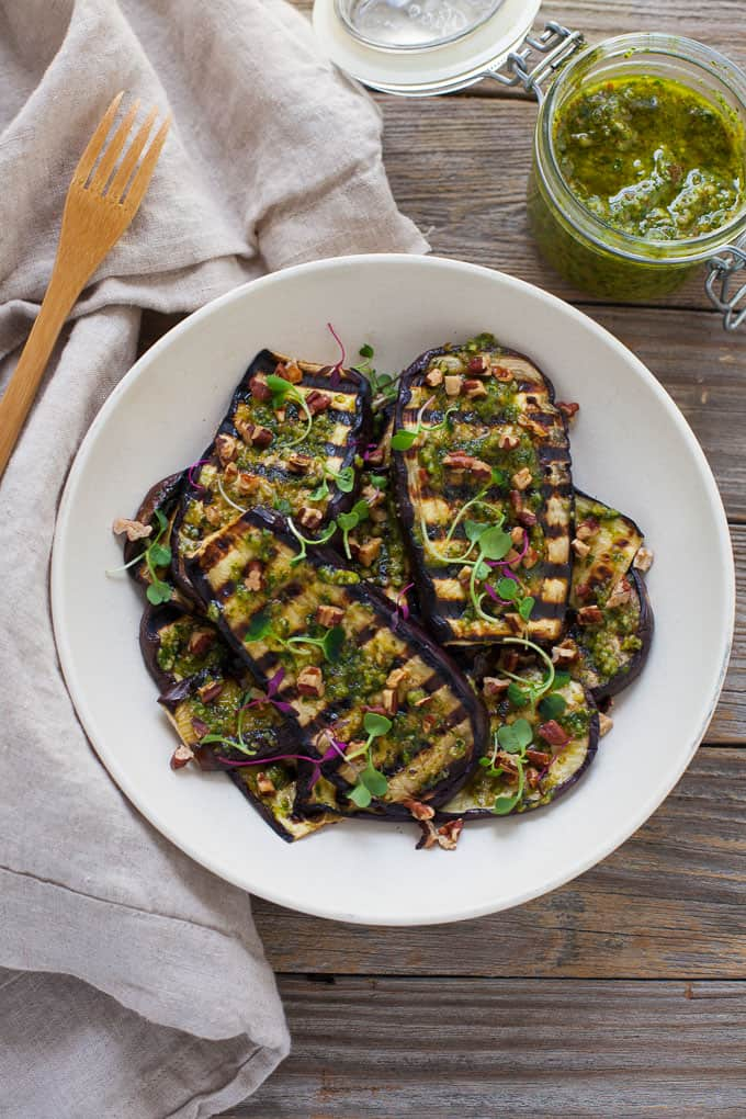 Grilled Eggplant with Pesto