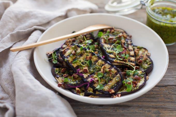 Grilled Eggplant with Pecan Pesto