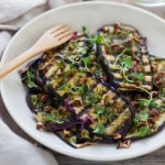 http://karalydon.com/recipes/grilled-eggplant-with-pecan-pesto/