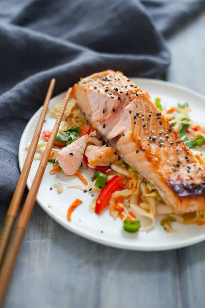This delicious green tea marinated salmon with Asian slaw is a colorful, flavor-packed dish that's bursting with nutrients.