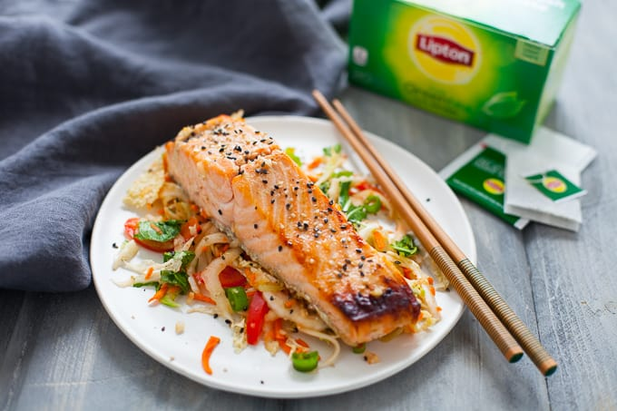 Green Tea Miso Marinated Salmon with Colorful Asian Slaw