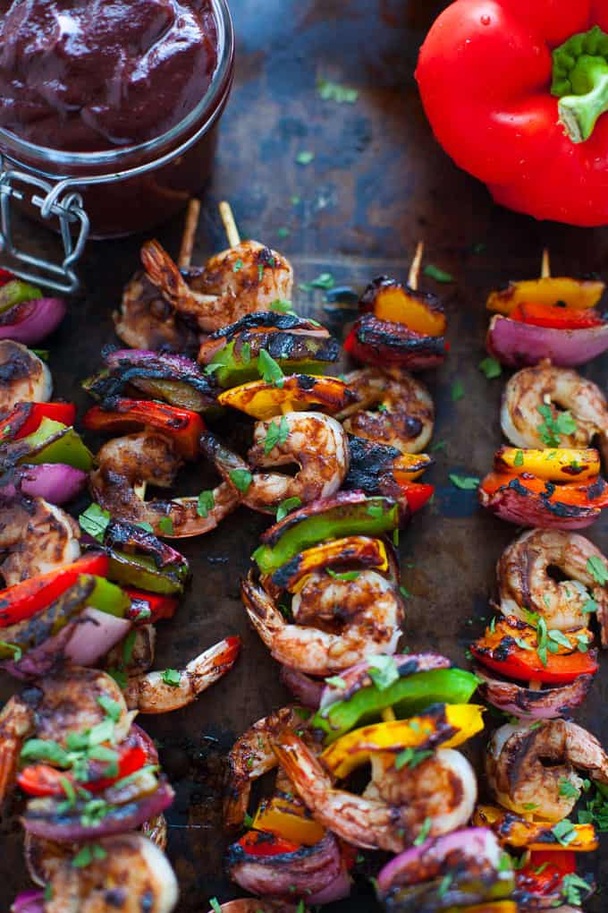 The perfect recipe for Labor Day weekend, these shrimp and veggie kabobs with Wild Blueberry Barbecue Sauce are sure to be a hit at your last summer hurrah!