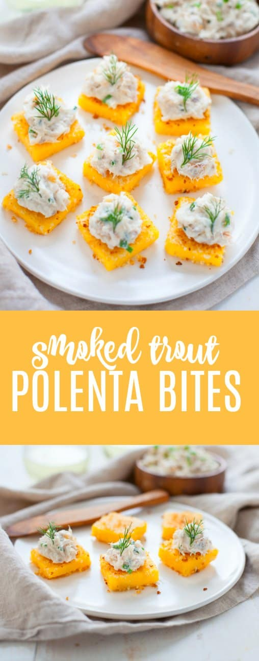 A fun and delicious seafood appetizer, these smoked trout polenta bites are sure to get your party started off right!