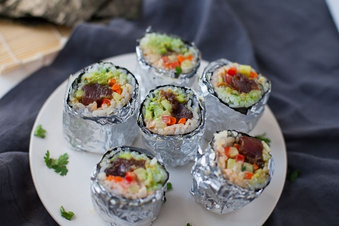 Mini Tuna Sushi Burritos