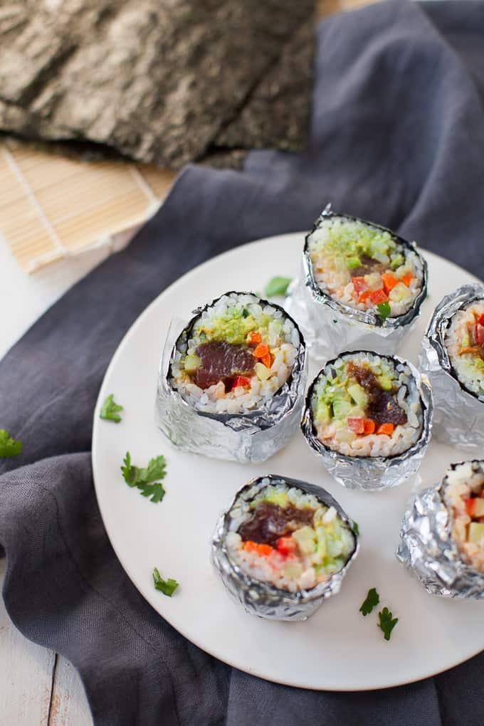 Mini Tuna Sushi Burritos gluten-free