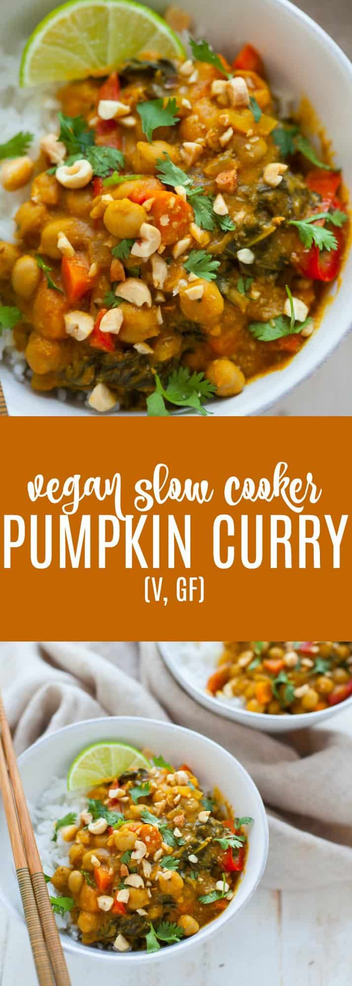 A warm and hearty vegan slow cooker pumpkin curry that's sure to satisfy on a cold fall or winter night.