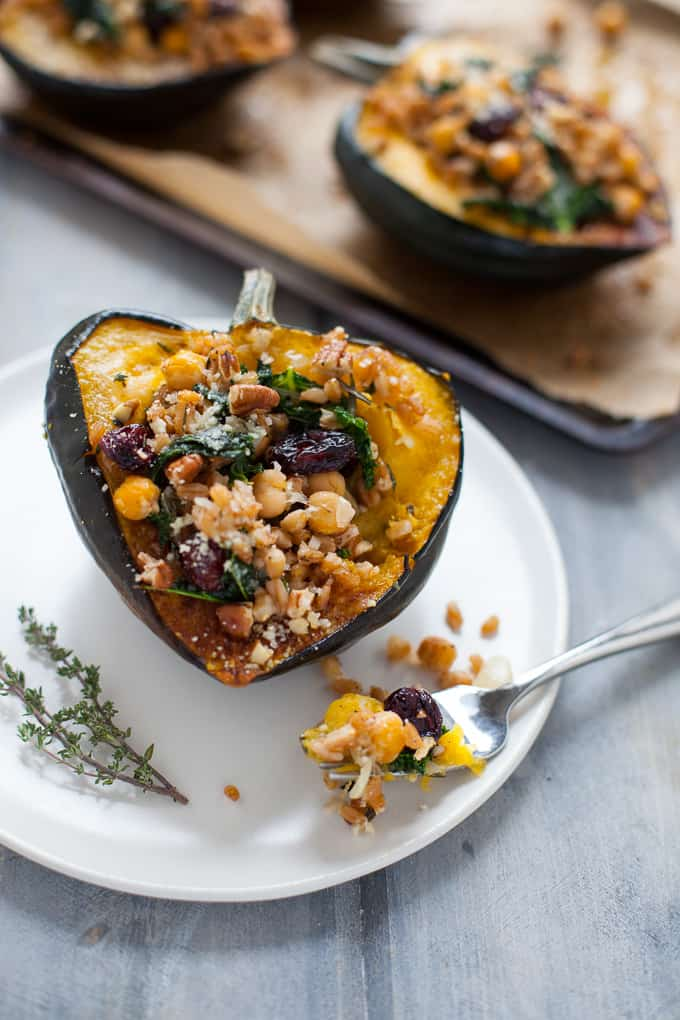 Thanksgiving Stuffed Acorn Squash - Vegetarian / Vegan Friendly!