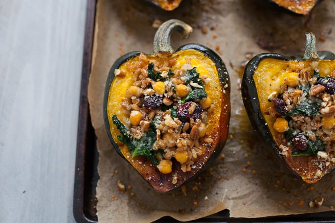 Stuffed Acorn Squash with Farro and Cranberries