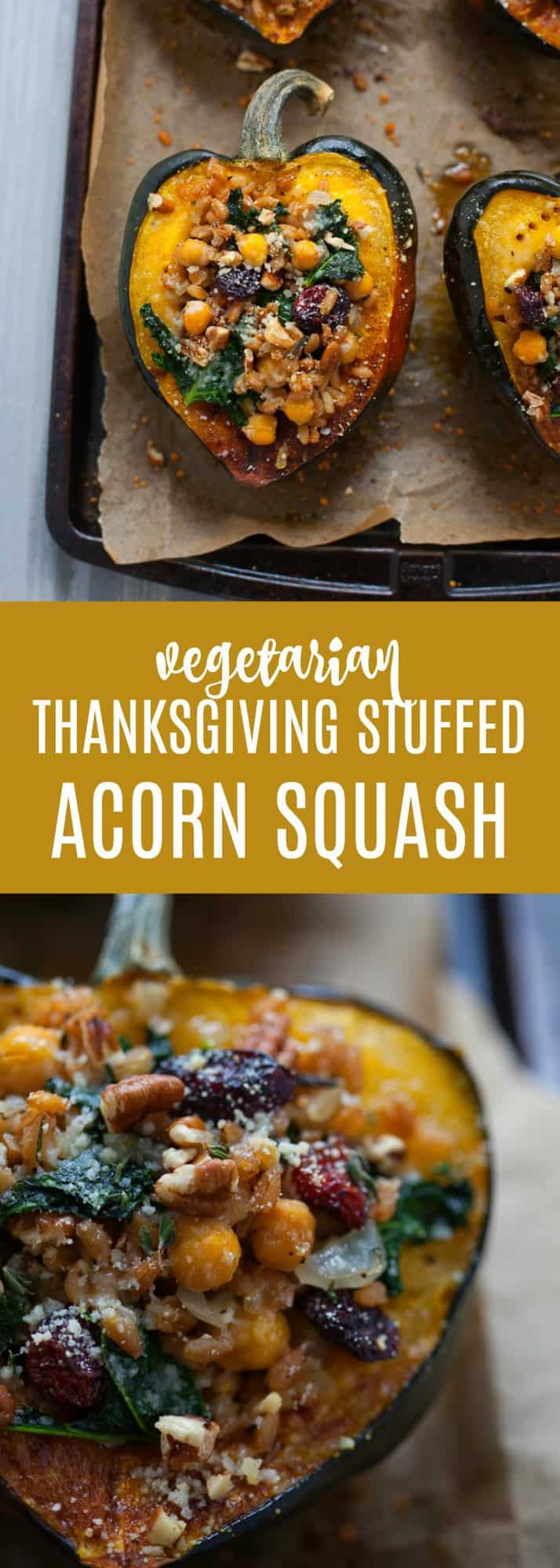 Looking for a delicious vegetarian side dish for the holidays? You gotta try my easy Thanksgiving Stuffed Acorn Squash made with farro, chickpeas, kale and cranberries!