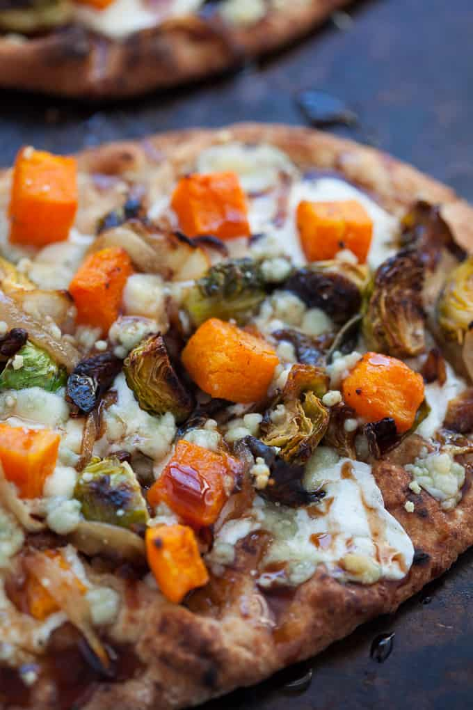 Butternut squash and Brussels sprouts naan pizza