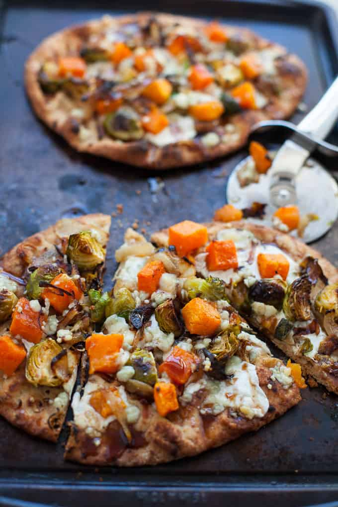 Naan pizza is the best pizza! Try my butternut squash and Brussels sprout naan pizza for starters!