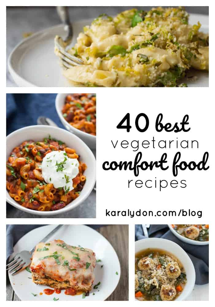 Spring may be around the corner (hopefully!) but until then let's spend the last of winter's chilly and snowy days hunkered down with one of these 40 vegetarian comfort food favorites.