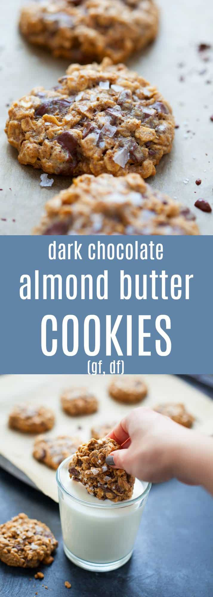 Ooey, gooey, melty chocolate chunk cookie goodness. Whip up a batch of my Dark Chocolate Almond Butter Cookies with Sea Salt this Valentine's Day (or any night you're craving a delicious treat!)