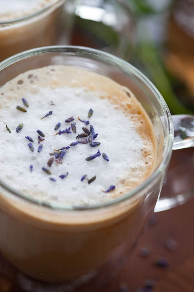 cozy almond milk lavender latte