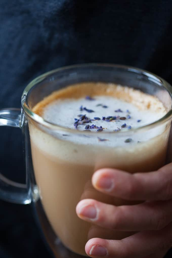 Cozy lavender latte made with almond milk!