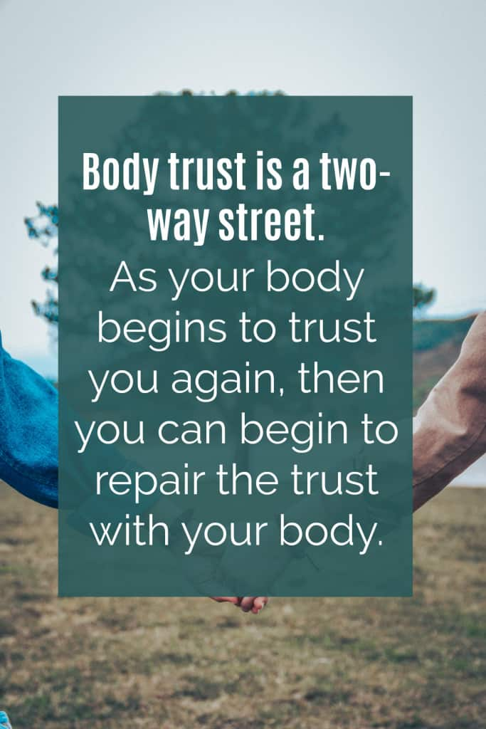 Overall, the purpose of becoming aware of your hunger and fullness is to eat according to your body's needs. In doing so, your body can start to trust you again that you will respond to its signals and as your body begins to trust you, you can begin to repair the trust with your body. Body trust is a two-way street. Your body has to know it can trust you again before you can truly repair your relationship with it.