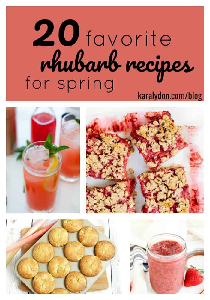 After patiently waiting out winter, I think it's safe to say spring has fiiiiinally sprung! One sure sign, the bright glossy stalks of rhubarb that start showing up at farmer's markets. From sweet to savory, and beverages to breakfasts, choose one of these 20 Favorite Rhubarb Recipes to give this springtime veggie (yep, it's technically a vegetable) a try. #rhubarb #spring