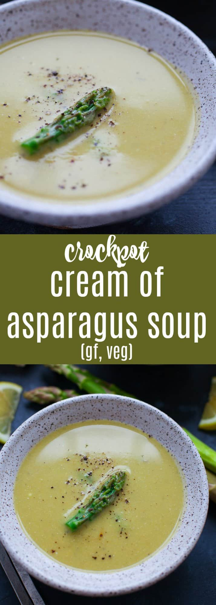 With only six ingredients needed, this crockpot cream of asparagus soup might be the easiest soup you'll ever make. #glutenfree #vegetarian